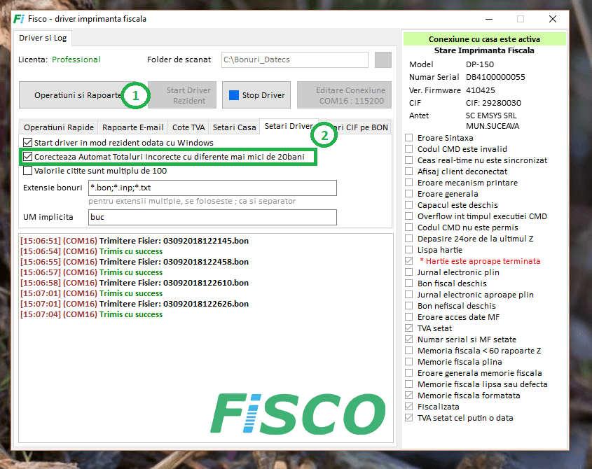 Activare autocorectie totaluri driver datecs Fisco